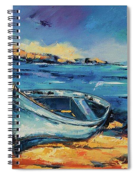 Blue Boat On The Mediterranean Beach Spiral Notebook