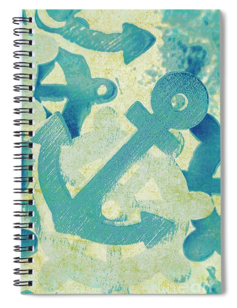 Blue Boating Button Spiral Notebook