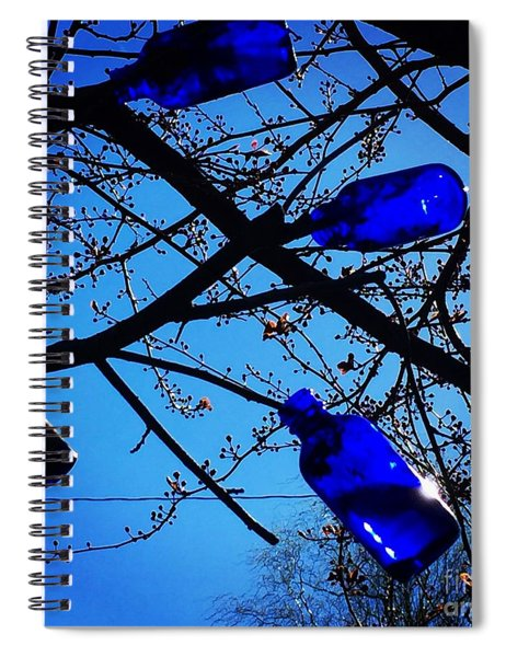 Blue Bottles In Tree Spiral Notebook