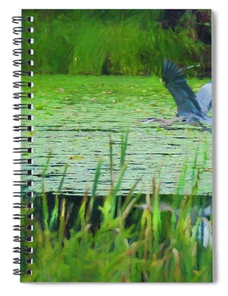 Blue Heron In Flight Spiral Notebook