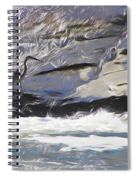 Blue Heron In Flowing Water. Spiral Notebook