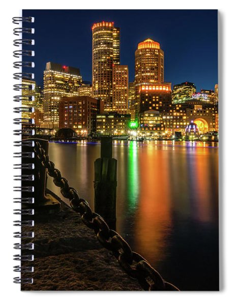 Blue Hour At Boston's Fan Pier Spiral Notebook