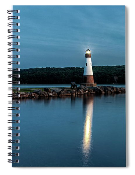 Spiral Notebook featuring the photograph Blue Hour Lighthouse by Rod Best
