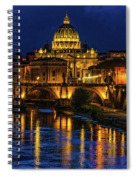 Blue Hour On The Tiber River Spiral Notebook
