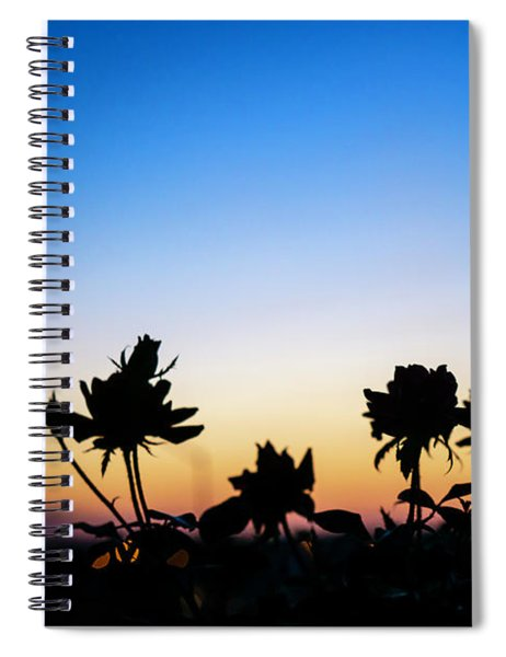Blue Hour Sunset With Flowers Spiral Notebook