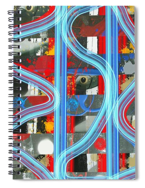 Blue Meet Red Black And White Fish Spiral Notebook