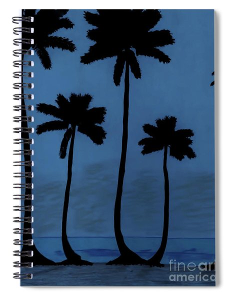 Blue - Night - Beach Spiral Notebook
