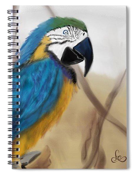 Spiral Notebook featuring the digital art Blue Parrot by Fe Jones