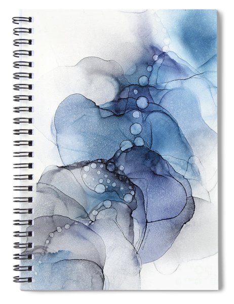 Blue Petal Dots Whispy Abstract Painting Spiral Notebook
