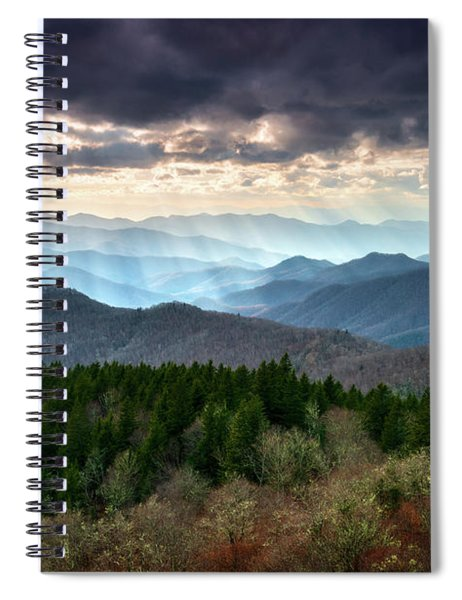 Blue Ridge Mountains Asheville Nc Scenic Light Rays Landscape Photography Spiral Notebook