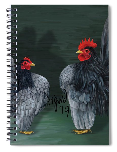 Blue Serama Pair Traditional Style Spiral Notebook