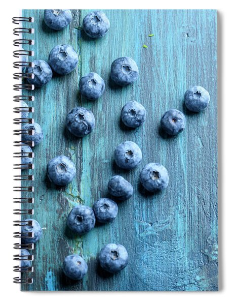 Blueberries Ion Blue Wooden Table Spiral Notebook