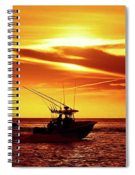 Boat Headed Out Of Jupiter Inlet Spiral Notebook