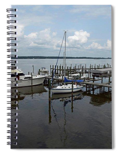 Boat In Harbor Spiral Notebook