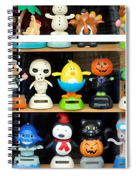 Bobbleheads In Store Window In Schroon Lake Ny In Adirondacks Spiral Notebook