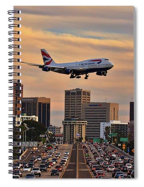 Boeing 747 Landing In San Diego Spiral Notebook
