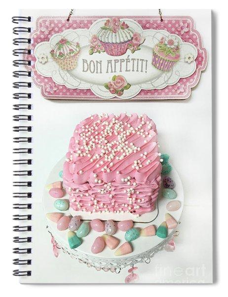 Bon Appetit Pink Cake - Parisian Pink Cake Bakery - Shabby Chic Pink Cake Art Decor Spiral Notebook