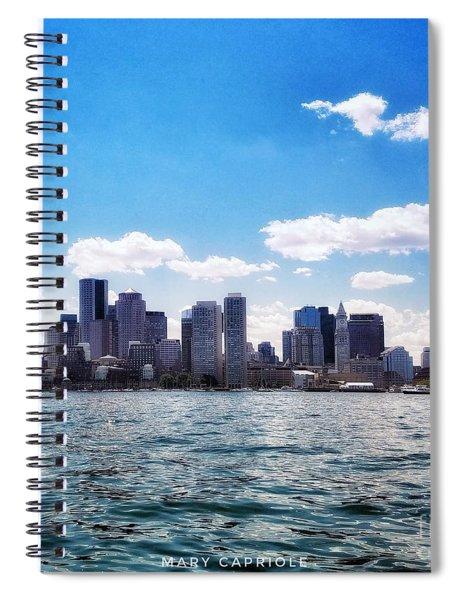 Boston Skyline From Boston Harbor  Spiral Notebook