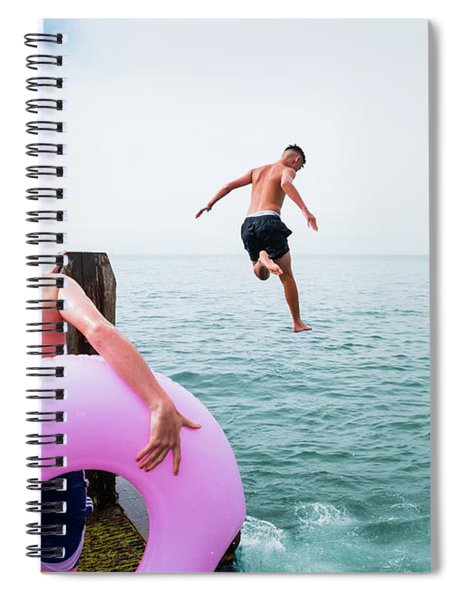 Boys Jumping Into The Sea Spiral Notebook