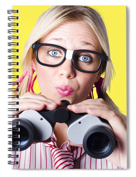 Brainy Businesswoman Looking To Future Development Spiral Notebook