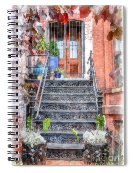 Brick Townhouse Walkup Watercolor Spiral Notebook