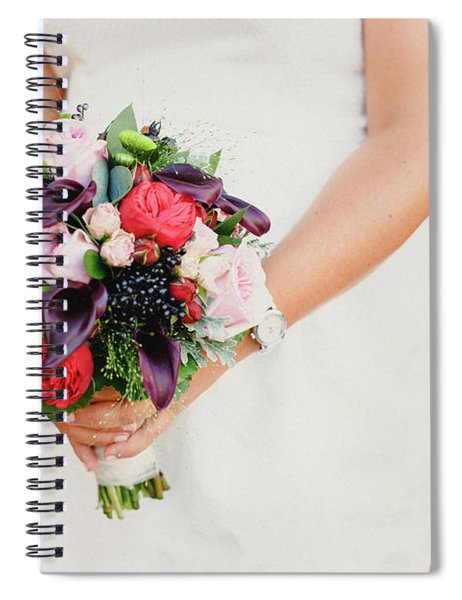 Bridal Bouquet Held By Her With Her Hands At Her Wedding Spiral Notebook