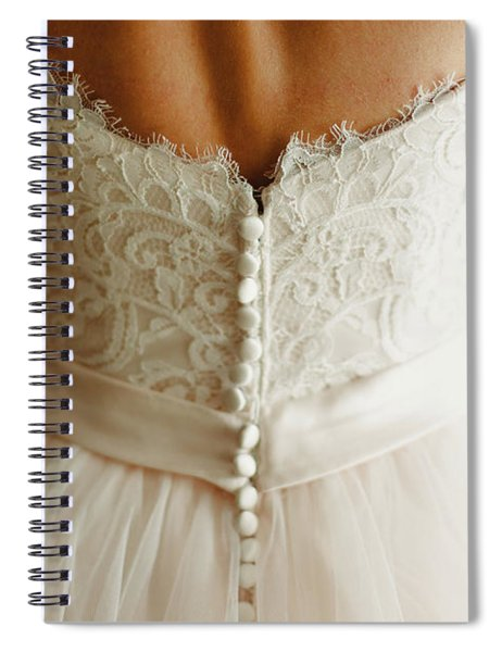 Bride Getting Ready, They Help Her By Buttoning The Buttons On The Back Of Her Dress. Spiral Notebook