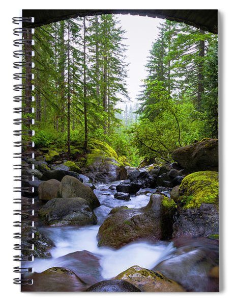 Bridge Below Rainier Spiral Notebook