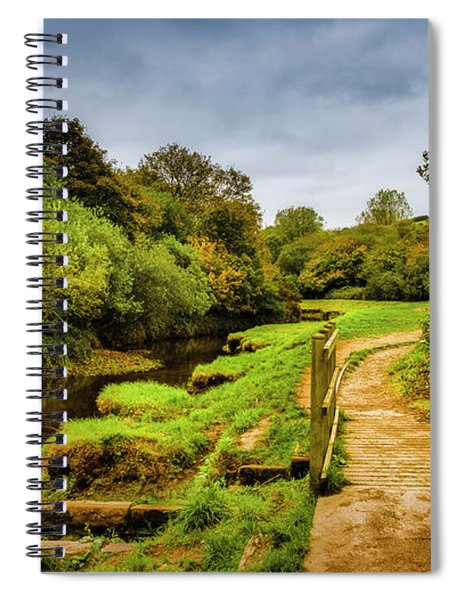 Bridge With Falling Colors Spiral Notebook