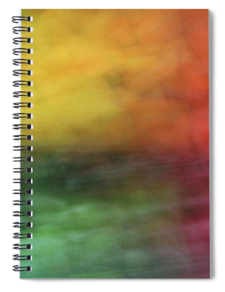 Bright Abstract Blurred Color Blocks Of Yellow, Orange, Red And Green Spiral Notebook