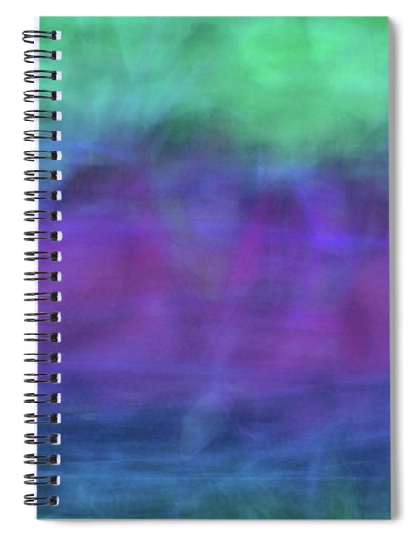 Bright Artistic Abstract Blurred Lines And Shapes Of Purples, Blues And Greens Textures Spiral Notebook