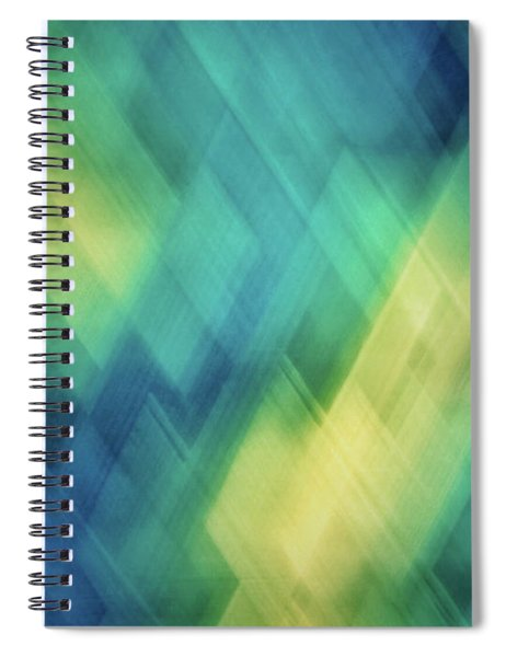 Bright Blue, Turquoise, Green And Yellow Blurred Diagonal And Diamond Shapes Spiral Notebook