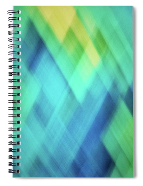 Bright Blue, Turquoise, Green And Yellow Blurred Diamond Pattern Abstract Spiral Notebook