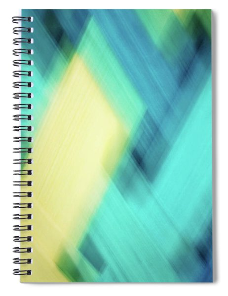 Bright Blue, Turquoise, Green And Yellow Blurred Diamond Shapes Abstract  Spiral Notebook