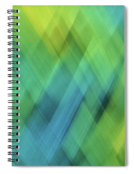 Bright Blue, Turquoise, Green And Yellow Blurred Diamond Shapes And Lines Abstract  Spiral Notebook