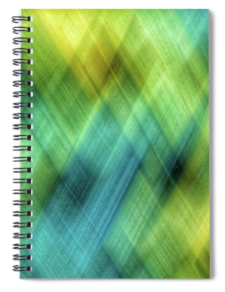 Bright Blue, Turquoise, Green And Yellow Blurred Diamond Shapes Spiral Notebook
