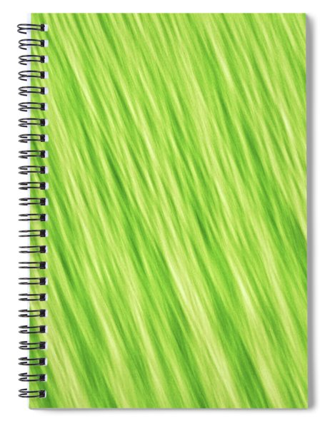 Bright Chartreuse Green Blurred Diagonal Lines Abstract Spiral Notebook