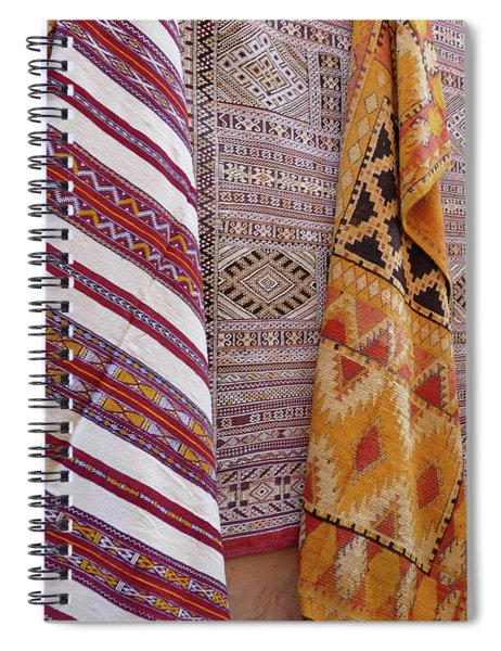 Bright Colored Patterns On Throw Rugs In The Medina Bazaar  Spiral Notebook