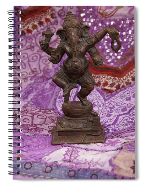 Bronze Ganesha Dancing, On Purple Spiral Notebook