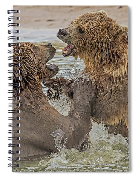 Brown Bears Fighting Spiral Notebook
