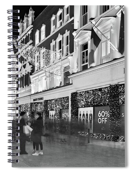 Spiral Notebook featuring the photograph Brown Thomas On Grafton Street At Night - Dublin by Barry O Carroll