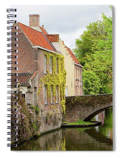 Bruges Footbridge Over Canal Spiral Notebook