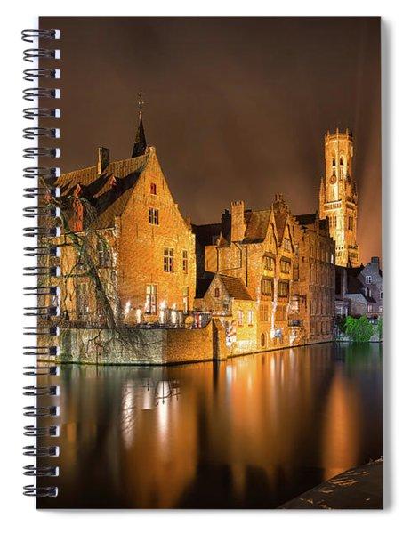 Brugge Belgium Belfry Night Spiral Notebook