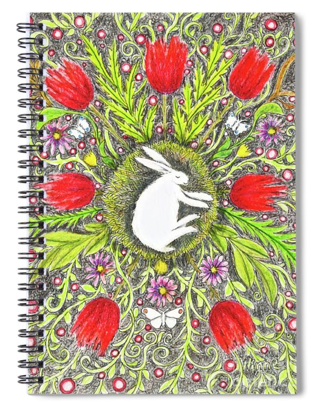 Bunny Nest With Red Flowers And White Butterflies Spiral Notebook