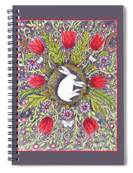 Bunny Nest With Red Flowers Variation Spiral Notebook