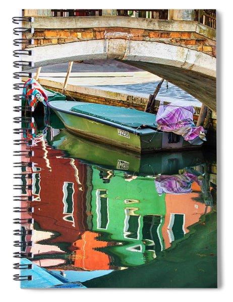Burano Bridge Reflections Spiral Notebook