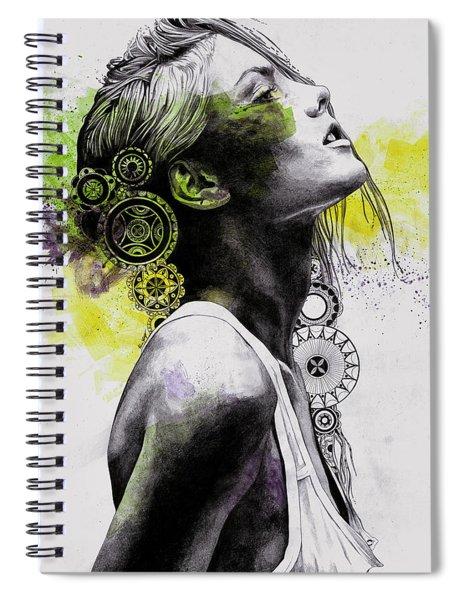 Burnt By The Sun - Street Art Woman Portrait With Mandalas Spiral Notebook