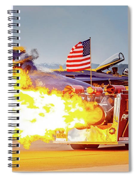 Burst Of Flames Jet Fire Truck Spiral Notebook
