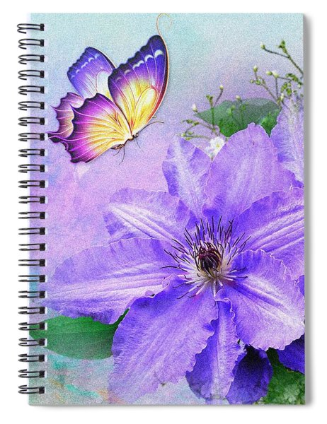 Butterfly On Clematis Spiral Notebook