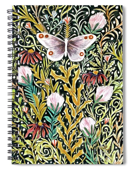 Butterfly Tapestry Design In Mustard, Red And Green Spiral Notebook